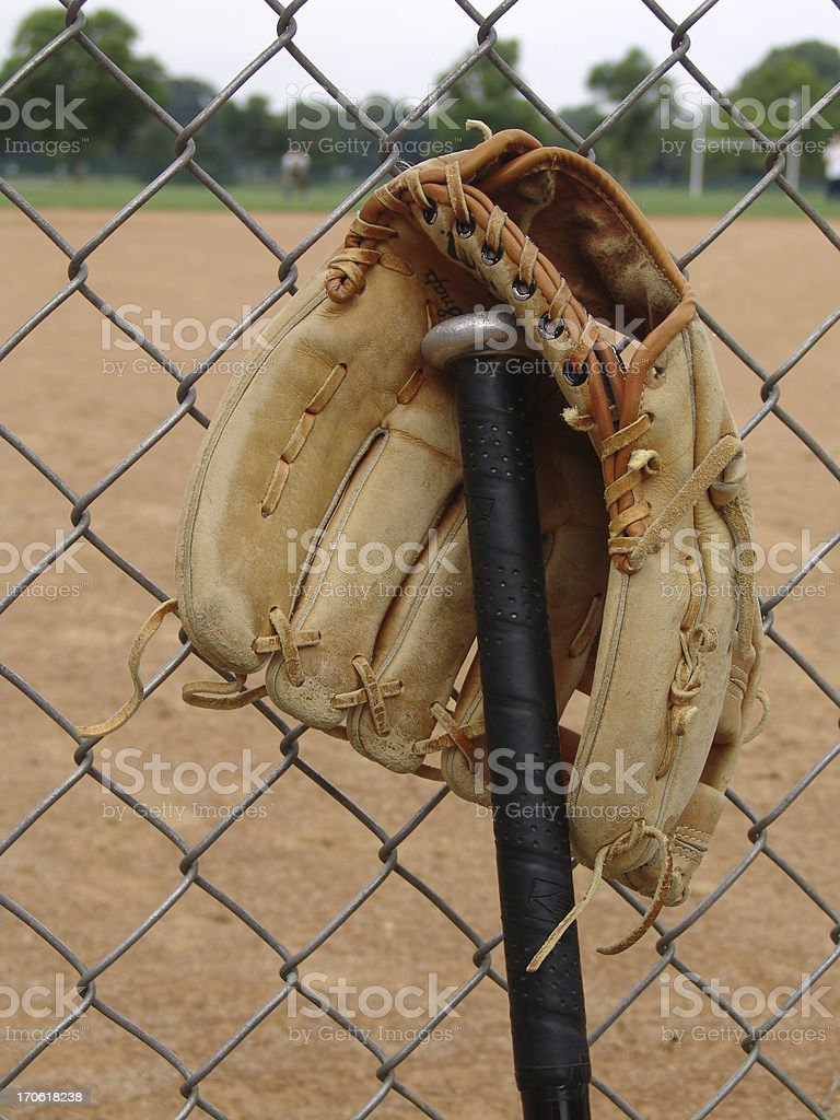 Glove and bat royalty-free stock photo