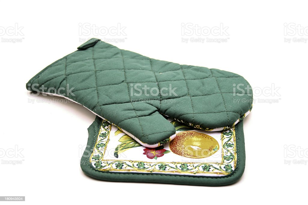 Glove and pot holder stock photo