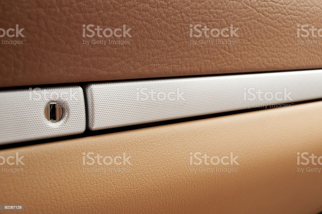 Glove box of luxury SUV stock photo