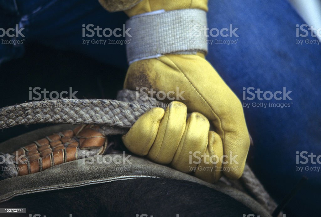 Glove of rodeo cowboy gripping rope royalty-free stock photo