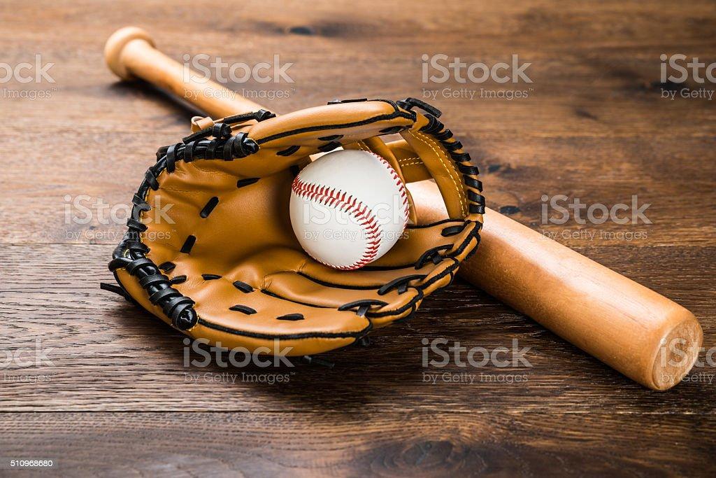 Glove With Baseball And Bat stock photo
