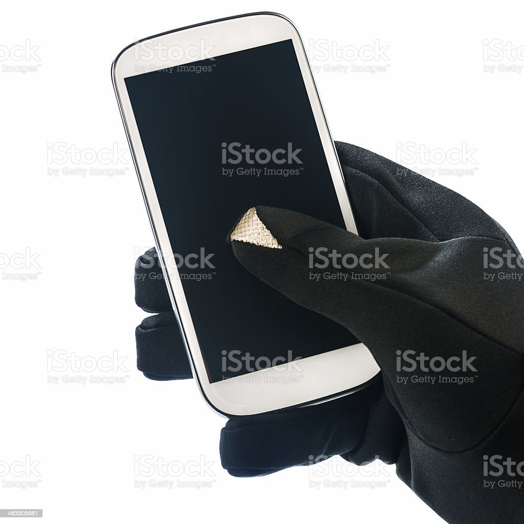 Glove with X-static conductor stock photo