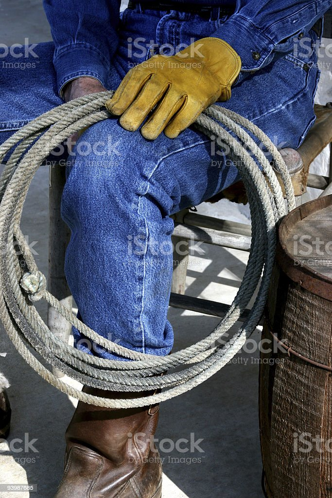 Gloved cowboy with rope royalty-free stock photo