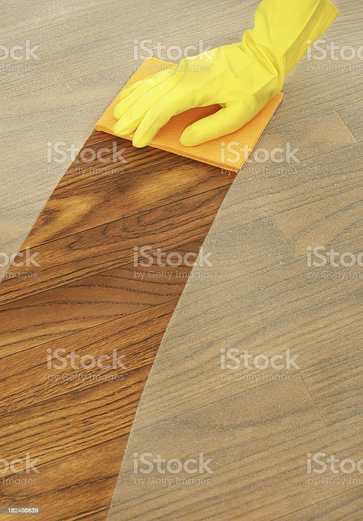 Gloved Hand Dusting stock photo