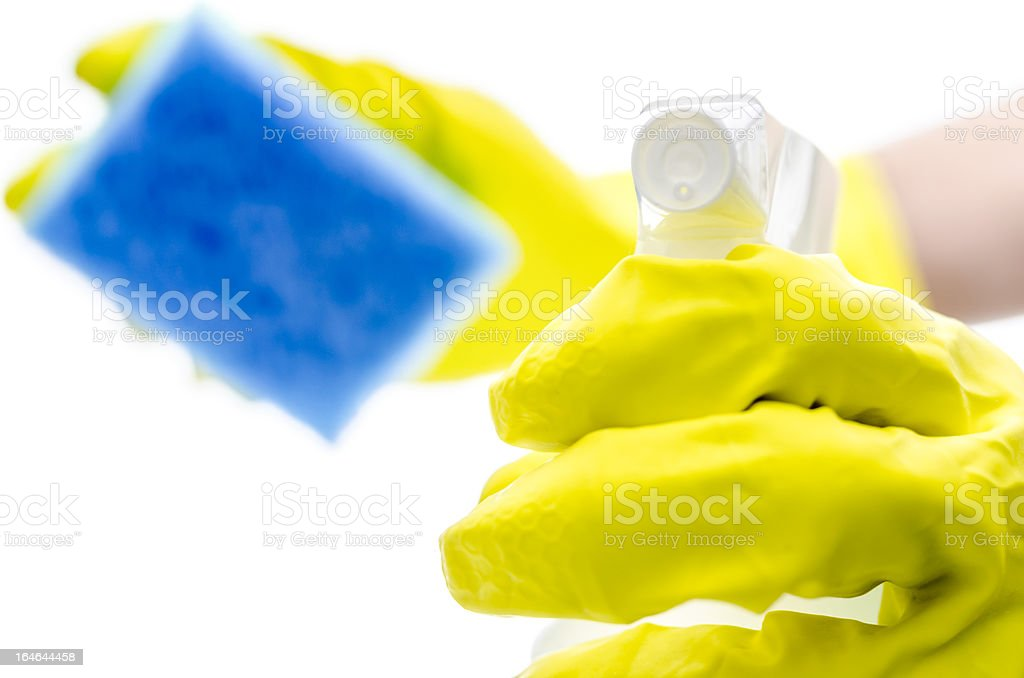 Gloved hand holding detergent spray and a sponge royalty-free stock photo