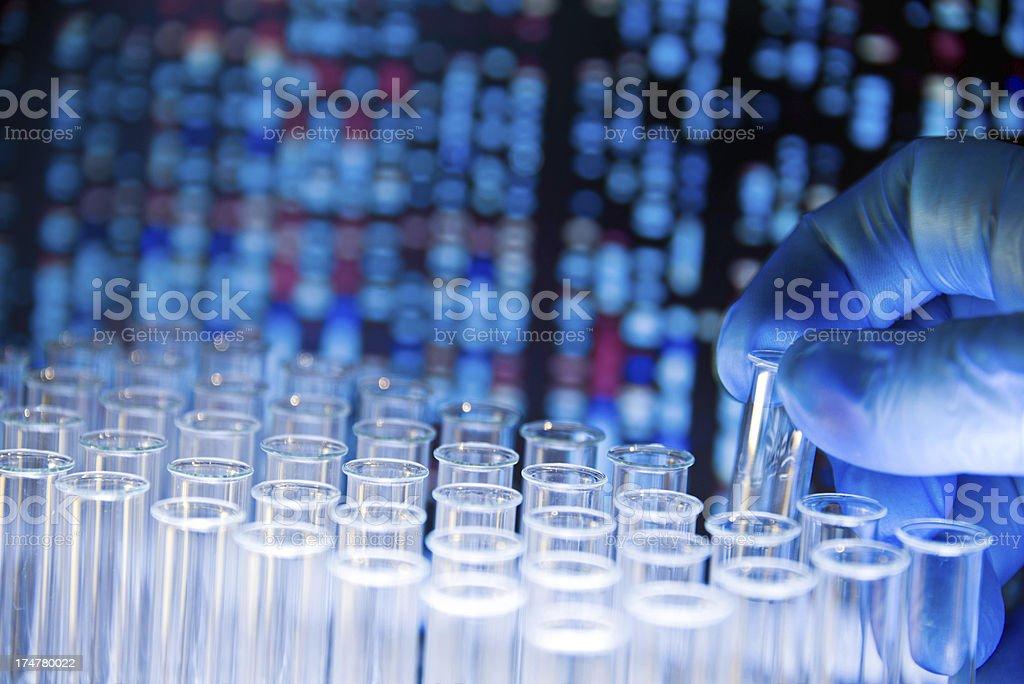Gloved hand removes test tube against gene chart background stock photo