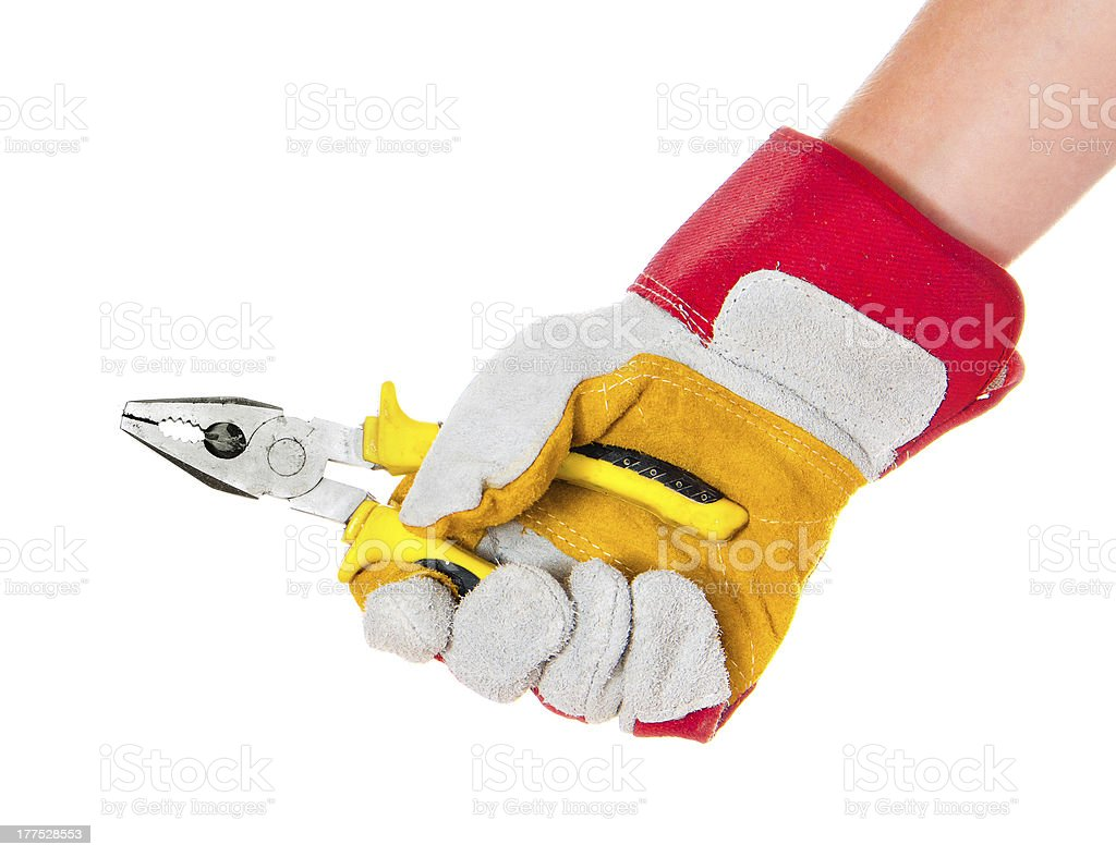 gloved hand with cutters royalty-free stock photo