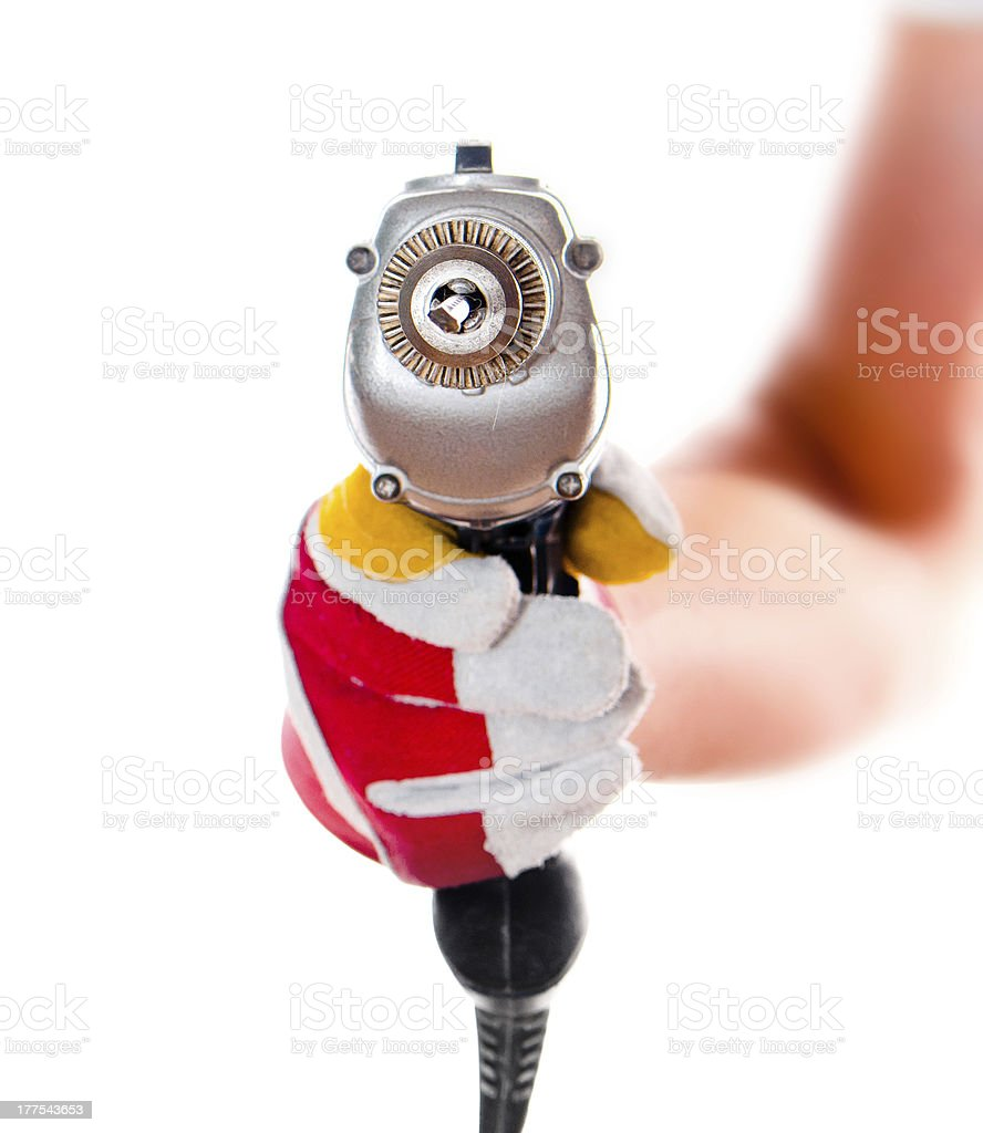 gloved hand with drill royalty-free stock photo