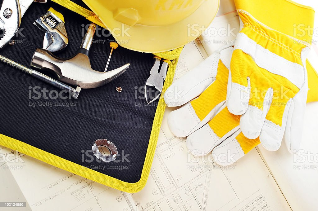 gloves and drawings royalty-free stock photo