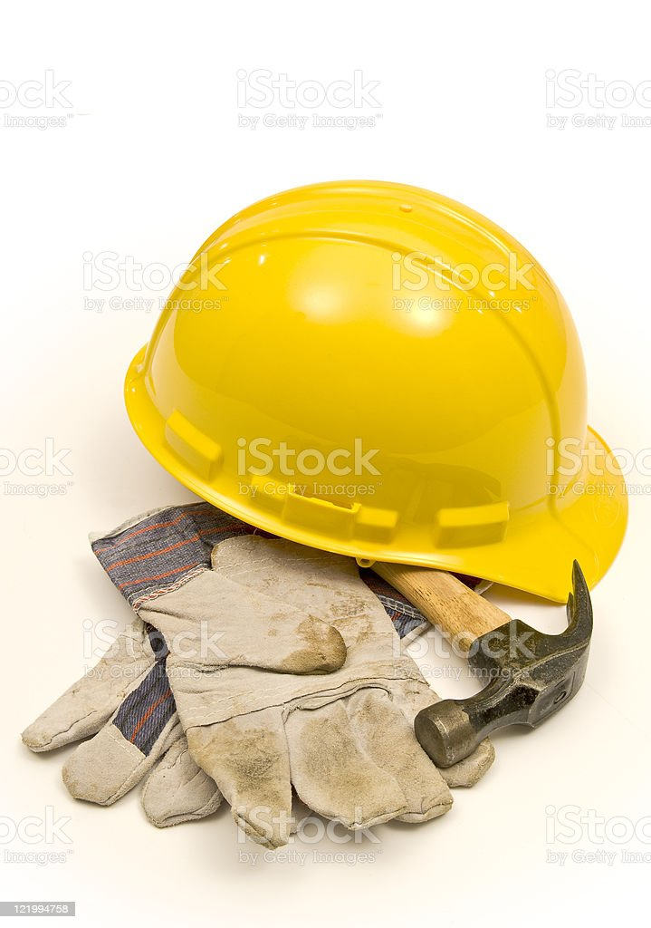 Gloves, Hammer and Hardhat royalty-free stock photo