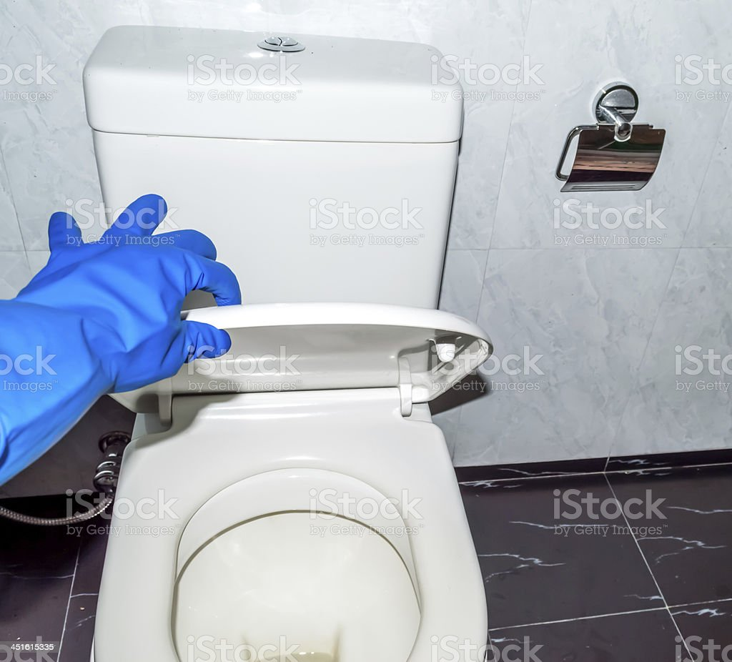 gloves hand with toilet commode 02 stock photo