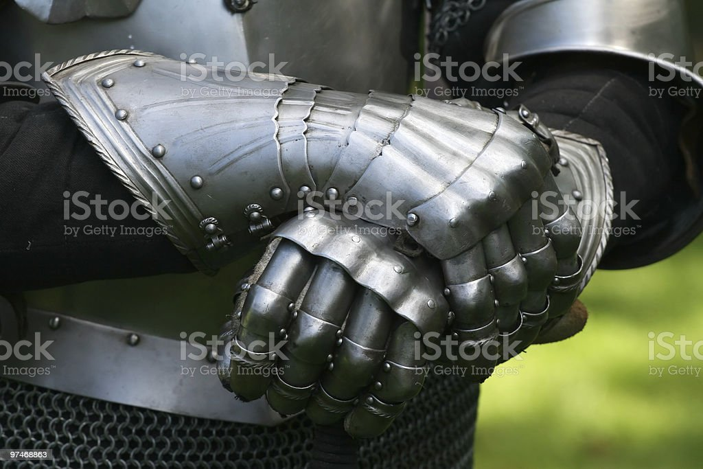 Gloves of a knight stock photo