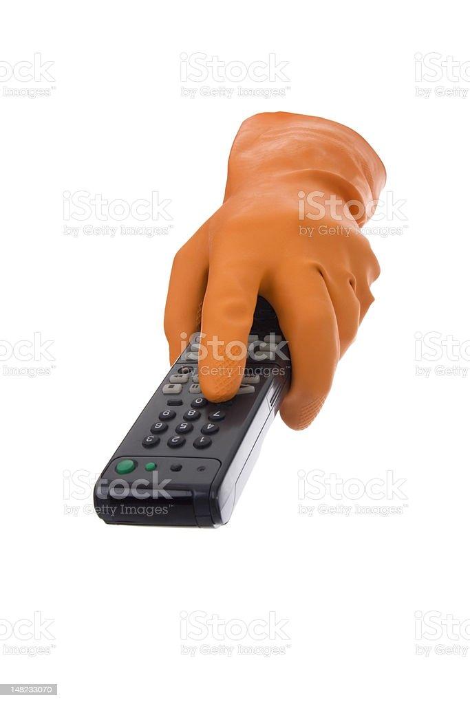 Gloves strains electronics stock photo