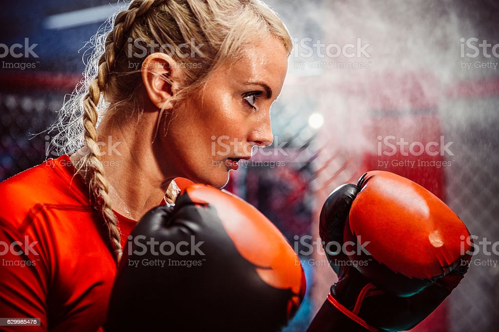 Gloves Up, She is ready to Box stock photo