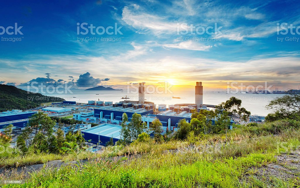 Glow light of petrochemical industry stock photo
