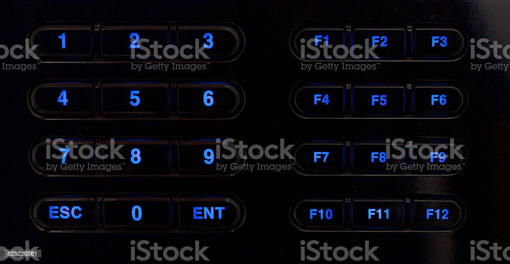 Glow numberic keypad and function key stock photo