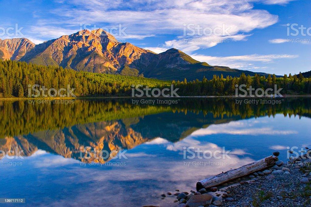 Glow of Pyramid Mountain in Jasper National Park stock photo