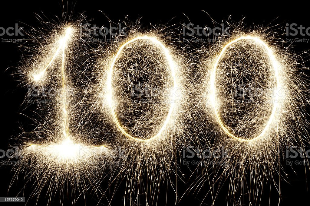 Glowing 100 stock photo