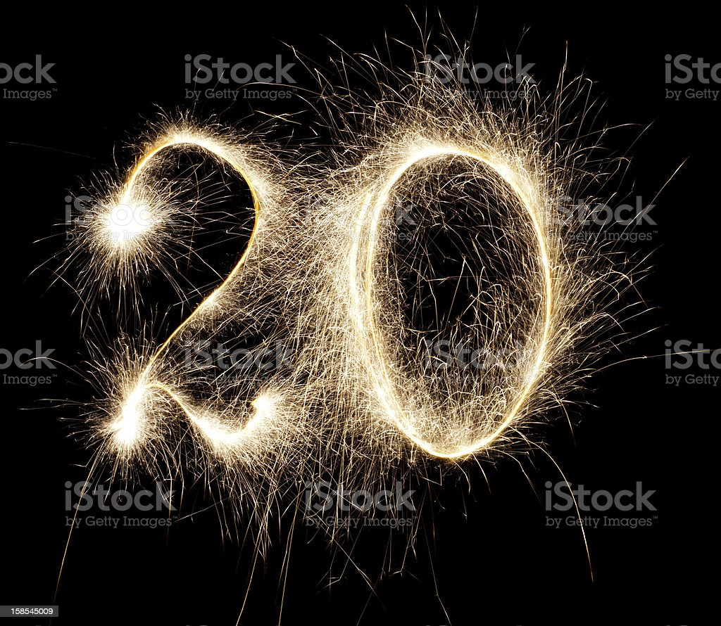Glowing 20 stock photo