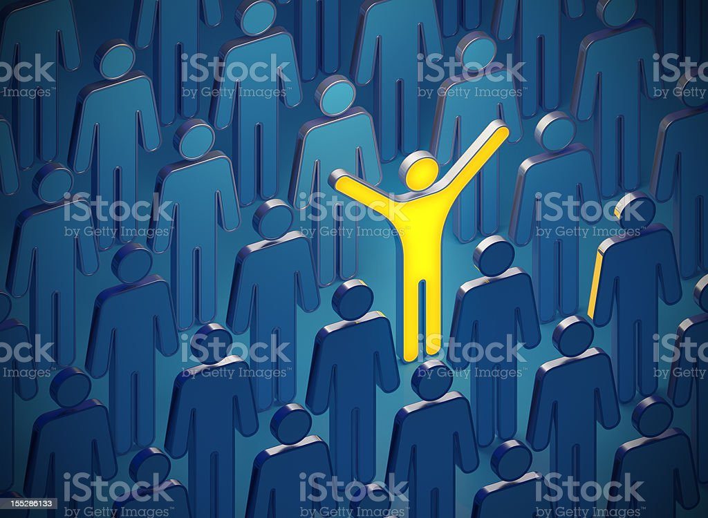 Glowing 3D man in the dark crowd of people royalty-free stock photo