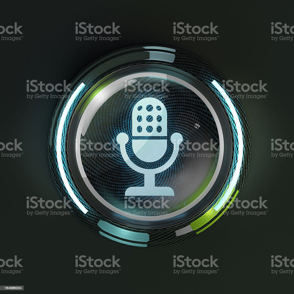 Glowing 3D microphone button on dark background. stock photo