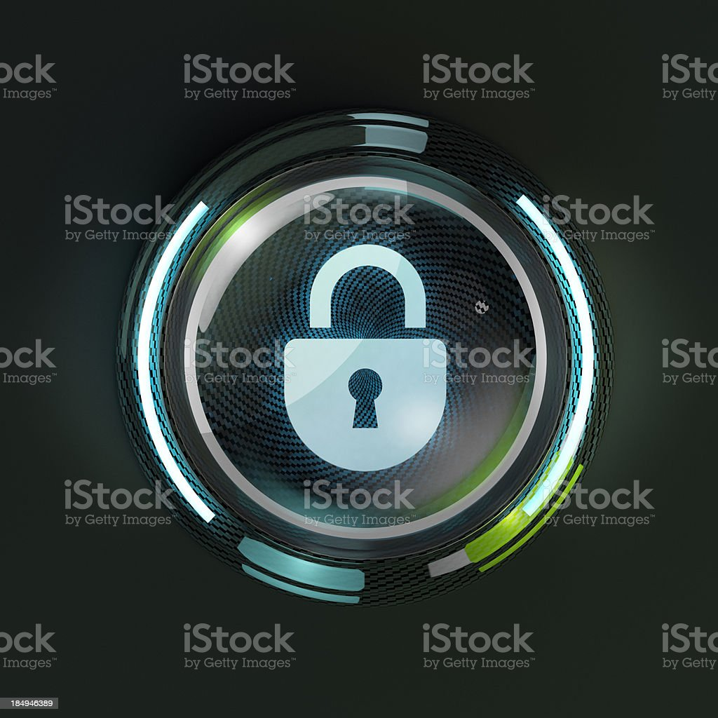 Glowing 3D security lock button on dark background. stock photo