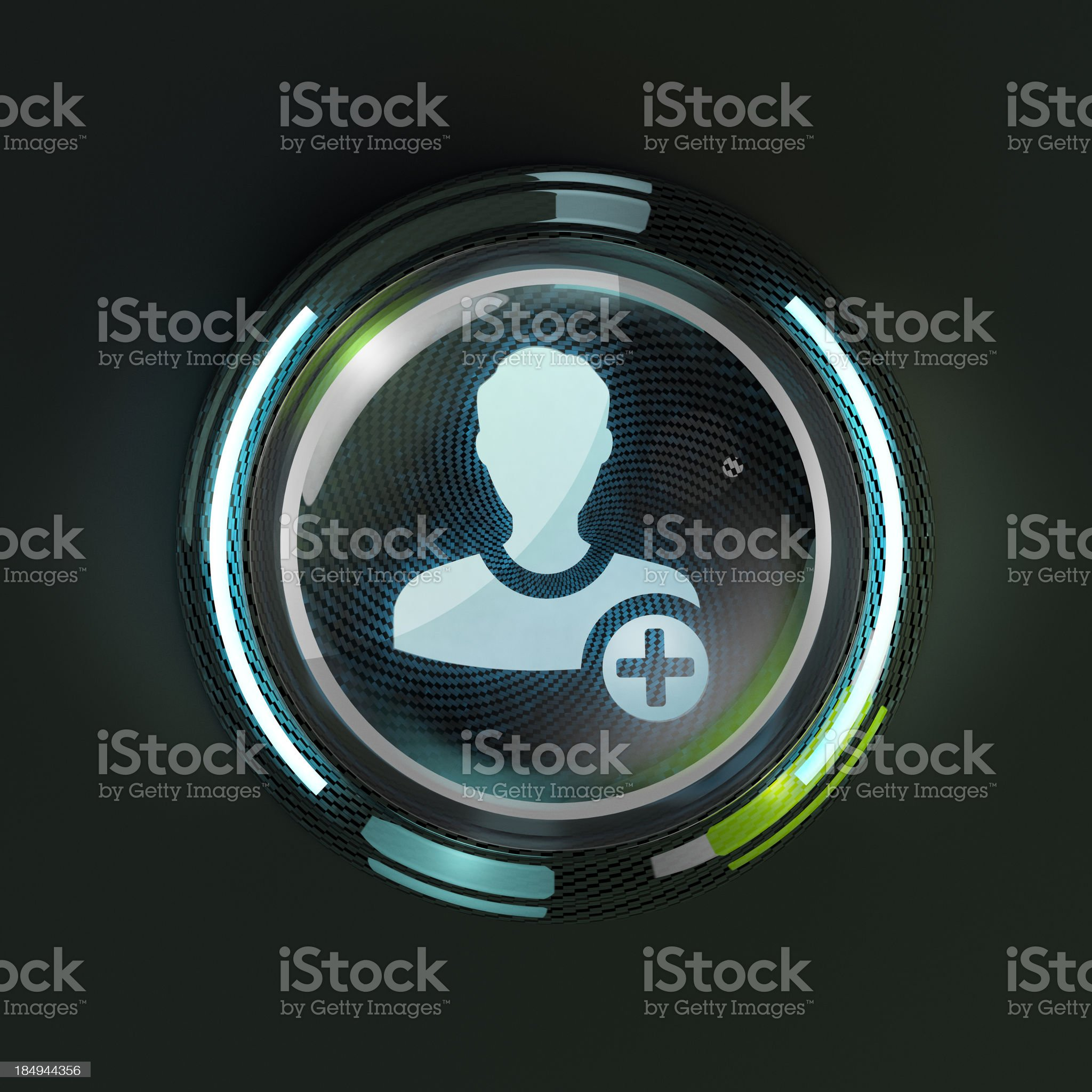 Glowing 3D social network friend button on dark background. royalty-free stock photo