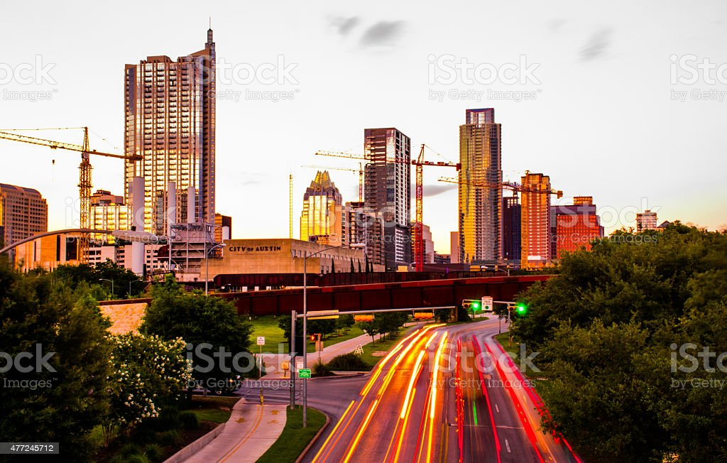 Glowing ATX Red Austin Texas Colorful Skyline stock photo