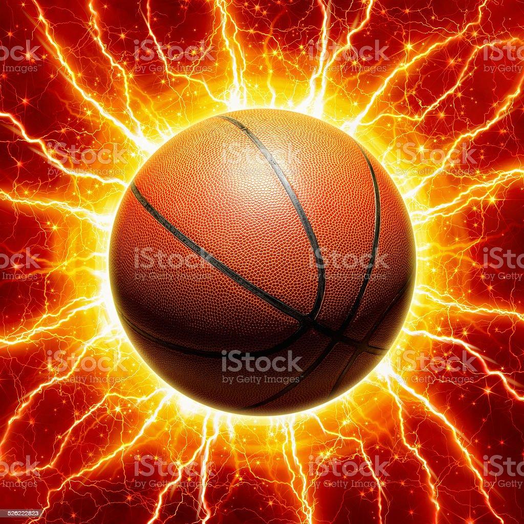 Glowing basketball stock photo