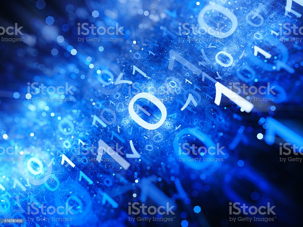 Glowing big data in space with particles binary code stock photo
