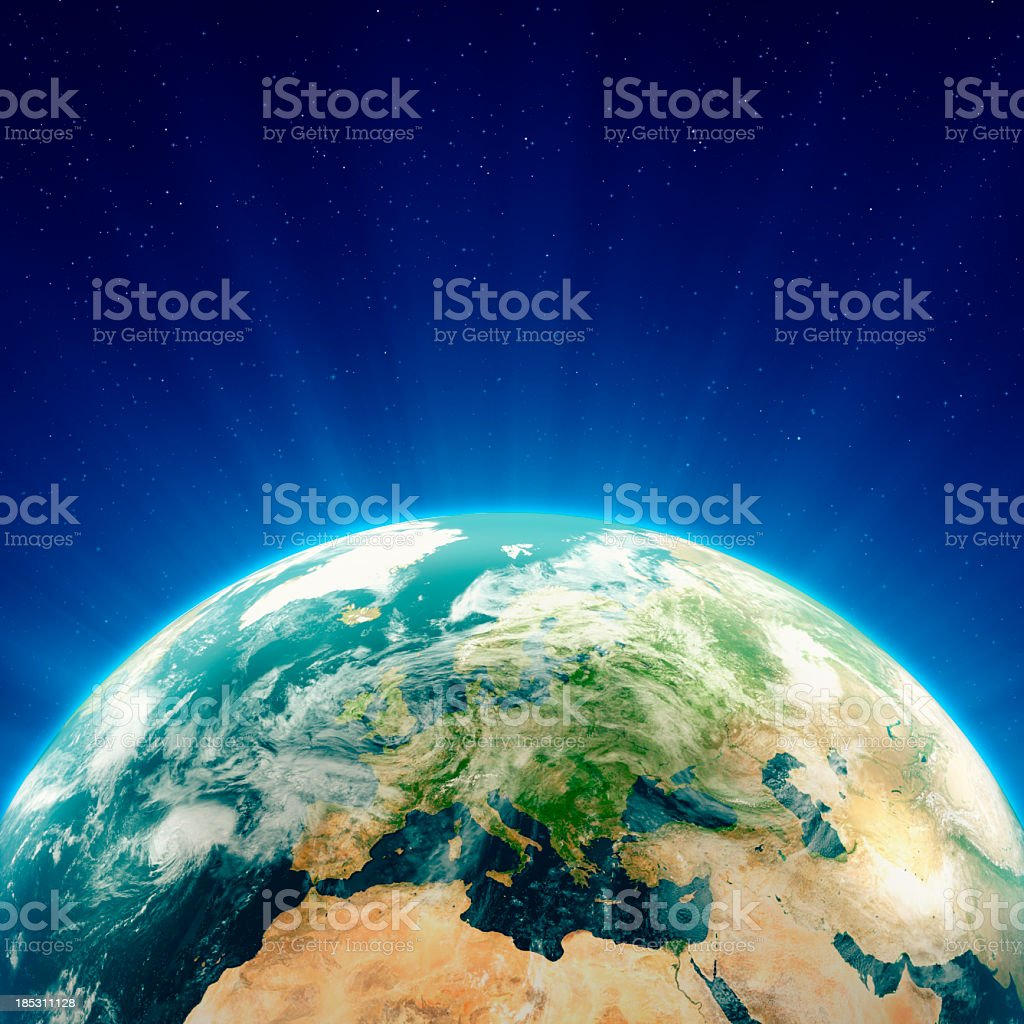 Glowing Blue Earth Europe royalty-free stock photo