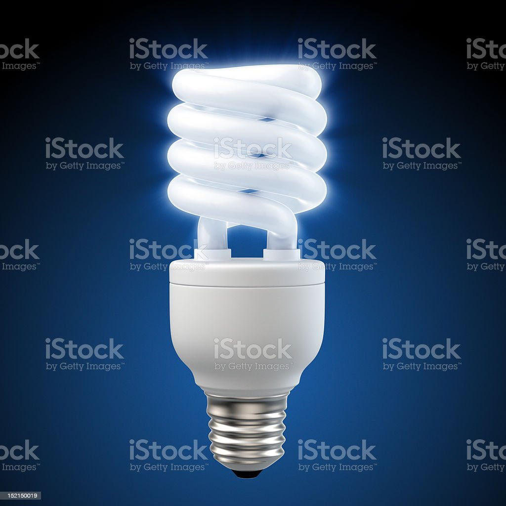 glowing blue energy saving light bulb stock photo