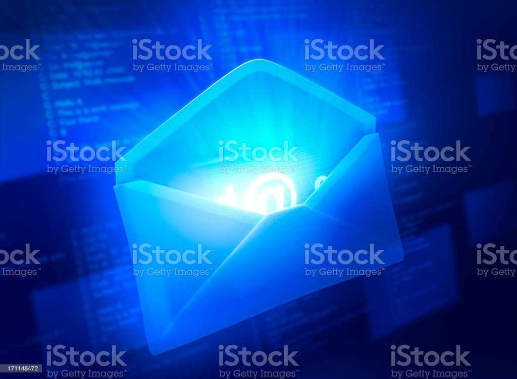 Glowing blue envelope with a glowing @symbol inside stock photo