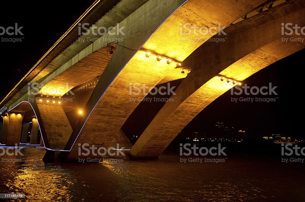 Glowing Bridge royalty-free stock photo