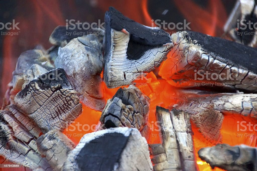 Glowing bright charcoal stock photo