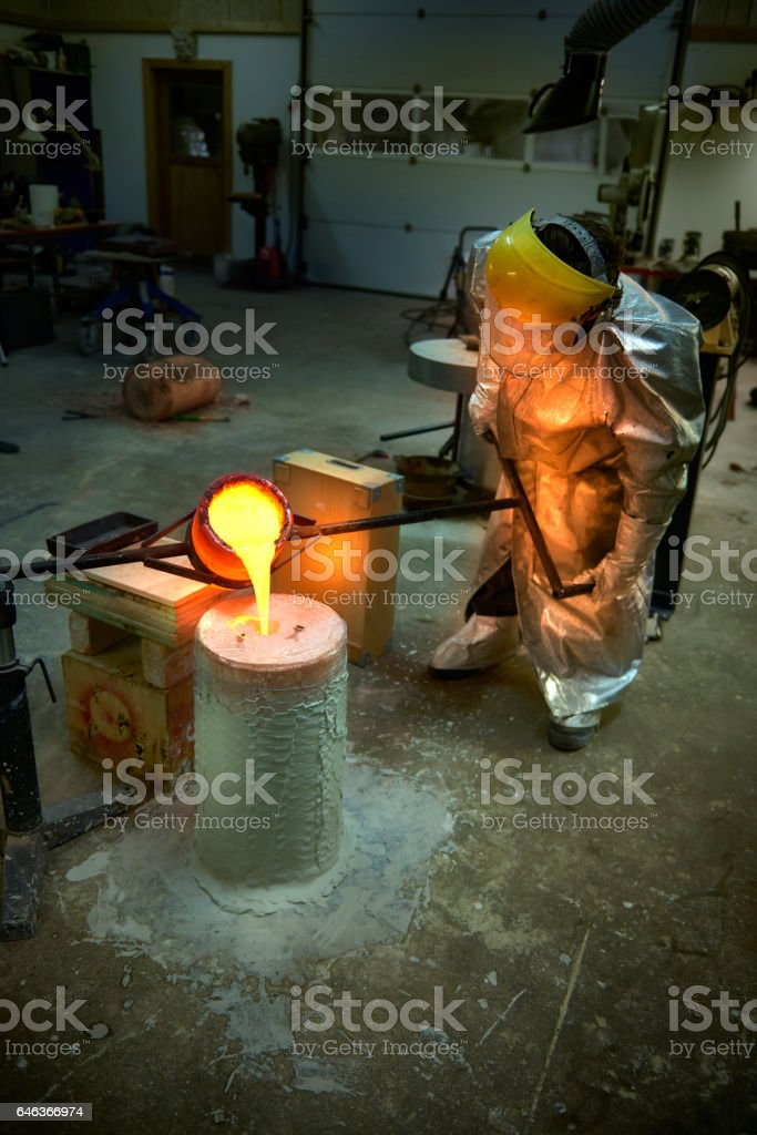 Glowing bronze for casting a bronze scuplture stock photo