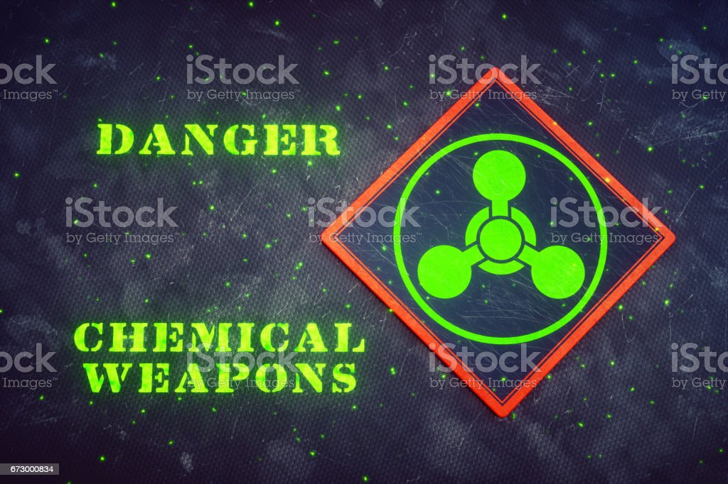 Glowing Chemical Weapons Sign stock photo