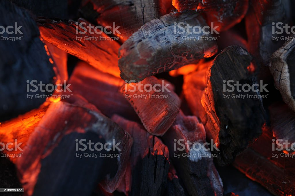 Glowing coal stock photo