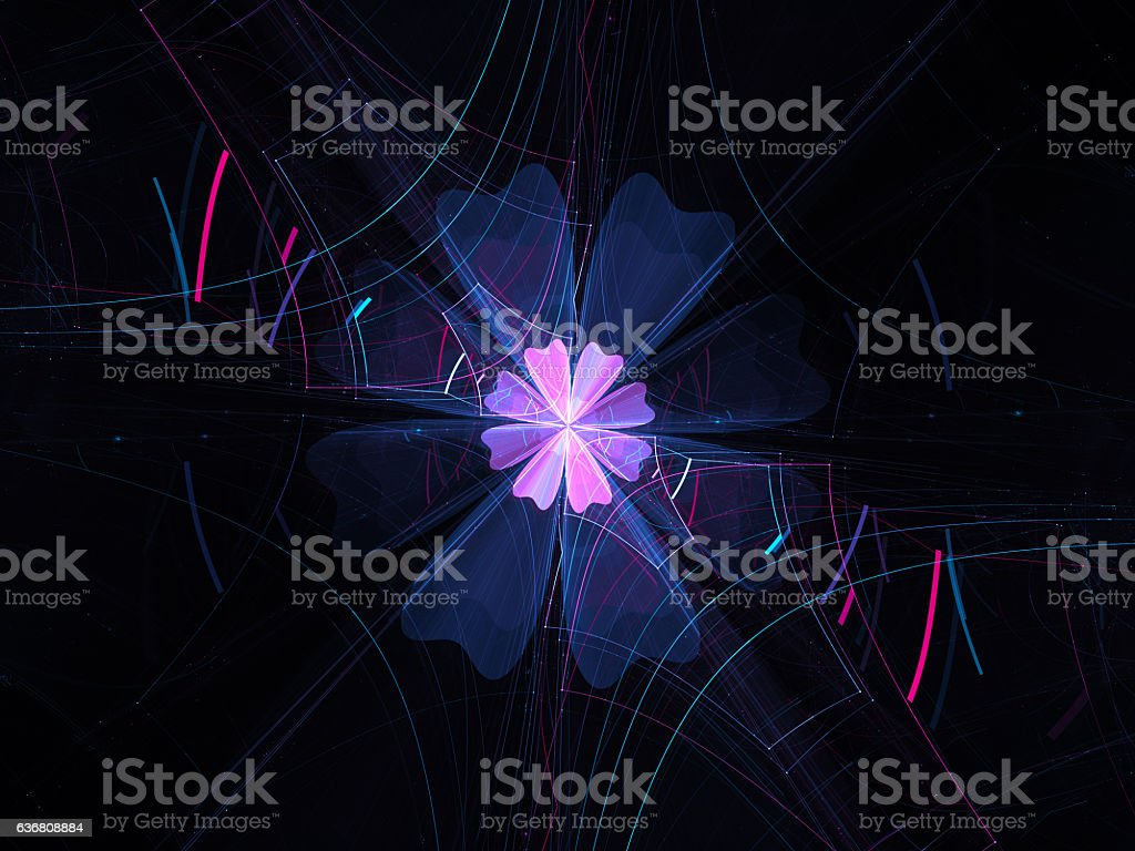 Glowing colorful flower fractal stock photo