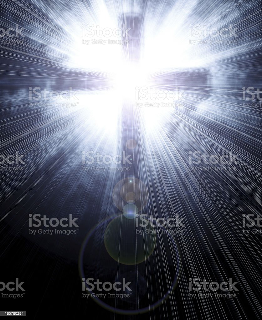 glowing cross royalty-free stock photo