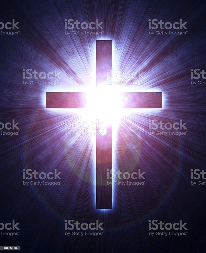 glowing cross royalty-free stock photo