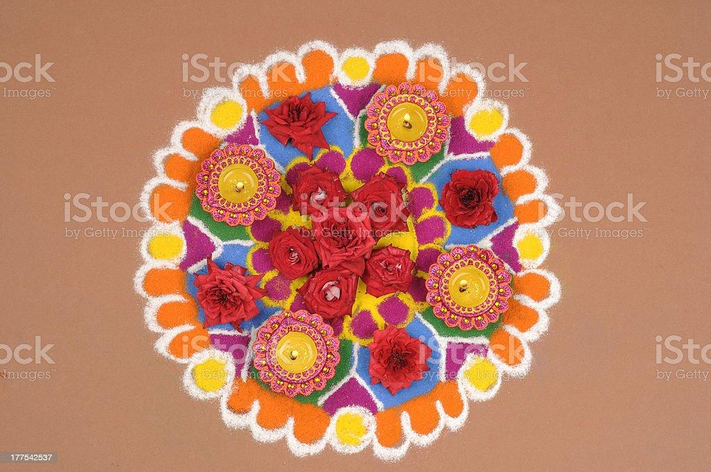 Glowing Diwali Lamps on Decorative Background stock photo