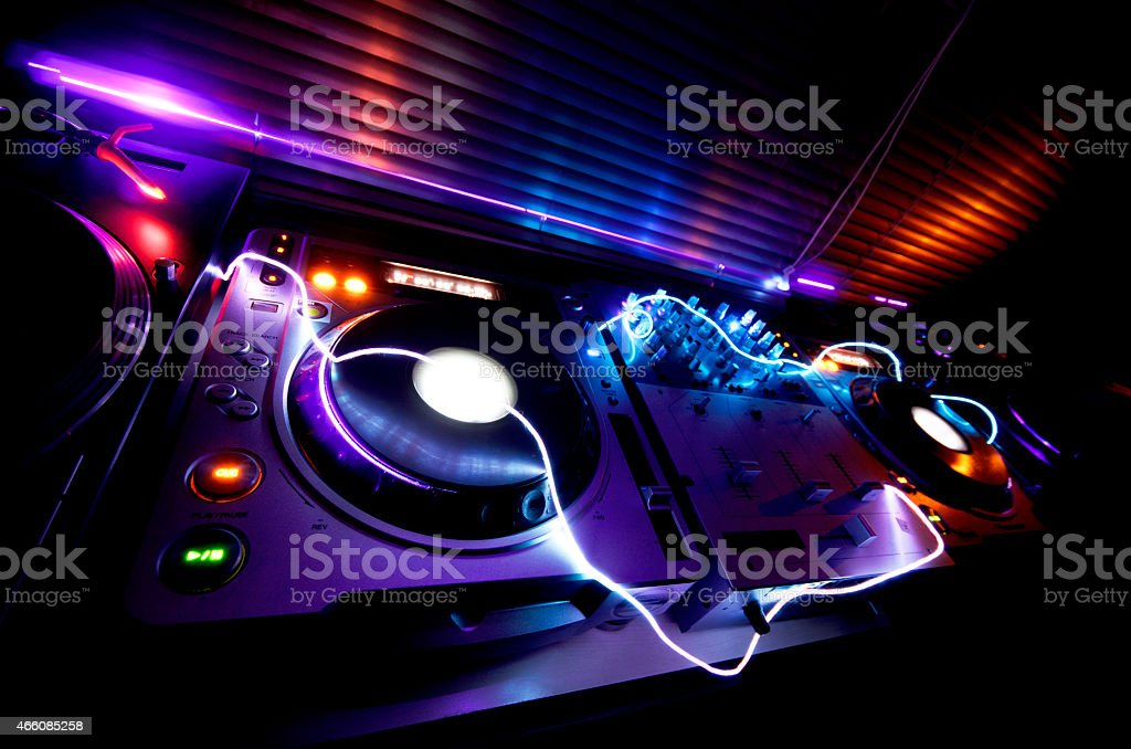 Glowing DJ Booth stock photo