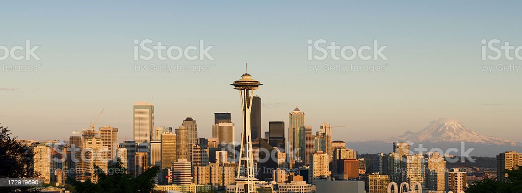 Glowing Downtown Seattle royalty-free stock photo