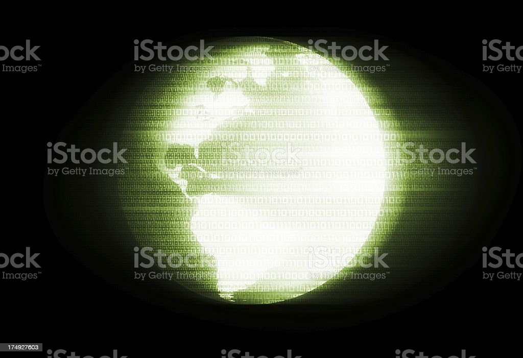 Glowing Earth in Binary royalty-free stock photo
