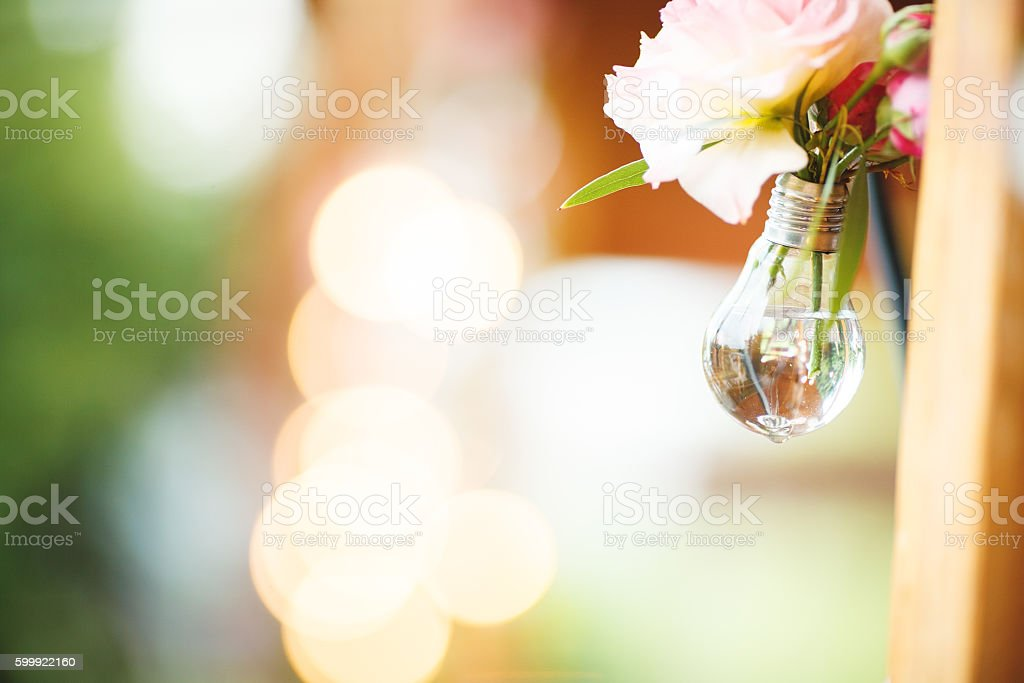 Glowing Edison's light bulbs on the  bokeh background stock photo
