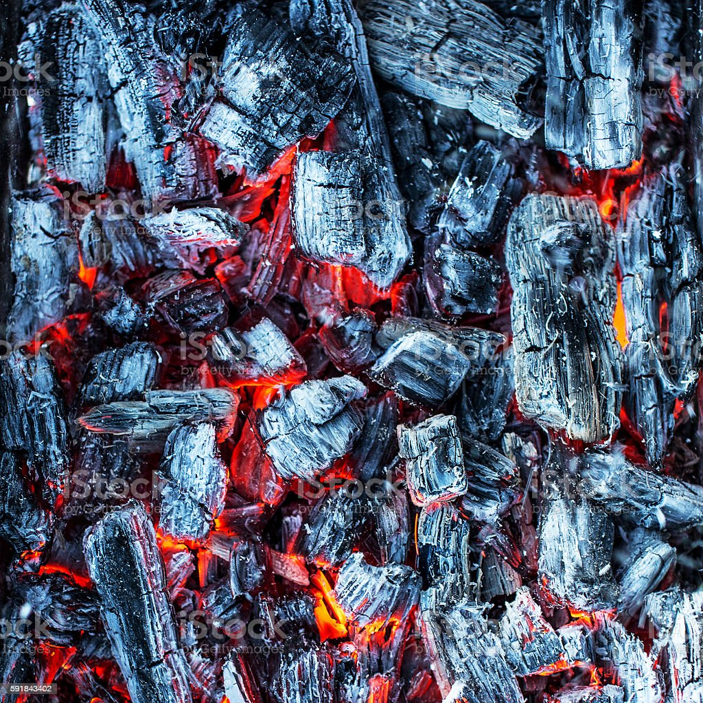 Glowing embers of wood. stock photo