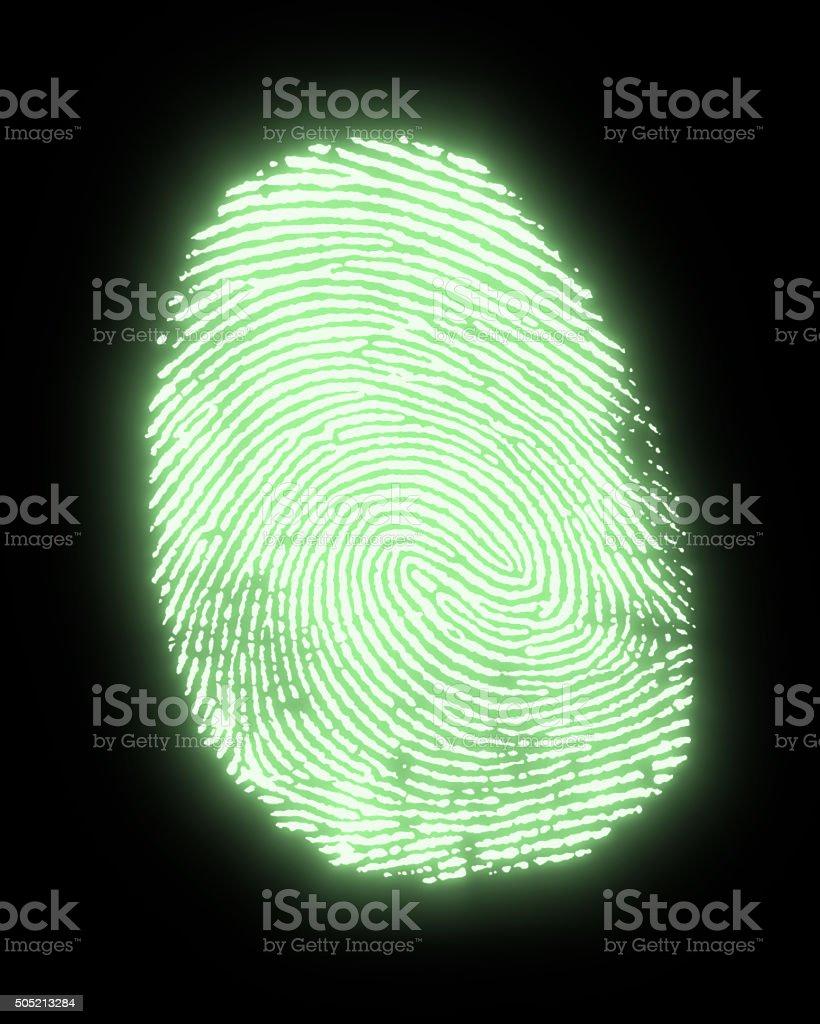 glowing fingerprint stock photo