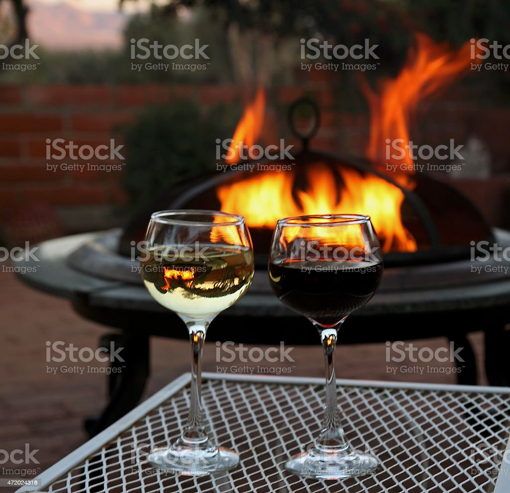 Glowing Fire And The Smokey Bouquet Of Wine stock photo