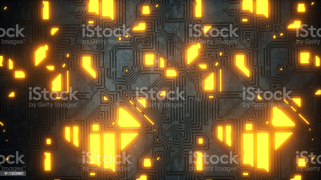 Glowing futuristic illuminated wall stock photo